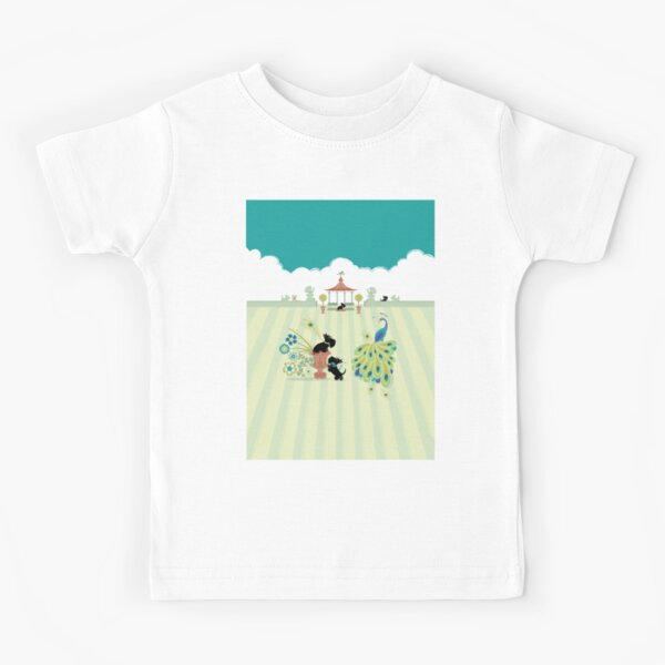 Scotties and Peacocks – Copyright © Bonnie Portraits  Kids T-Shirt