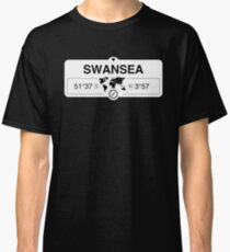 Swansea Wales GPS Coordinates Map Artwork with Compass   Classic T-Shirt