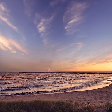 view of the Manistique lighthouse at sunset  by svetlanna