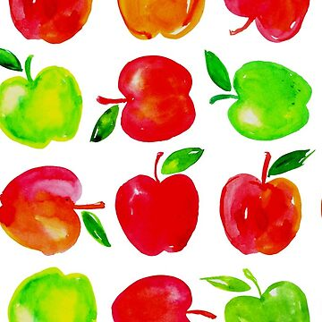 Vibrant Watercolor Fall Apples Pattern by ArtVixen