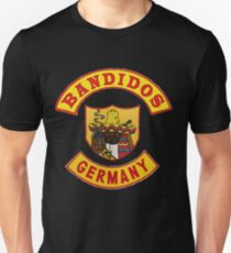 Bandidos GERMANY top and bottom Rocker with Full Front of Jacket Patch Unisex T-Shirt