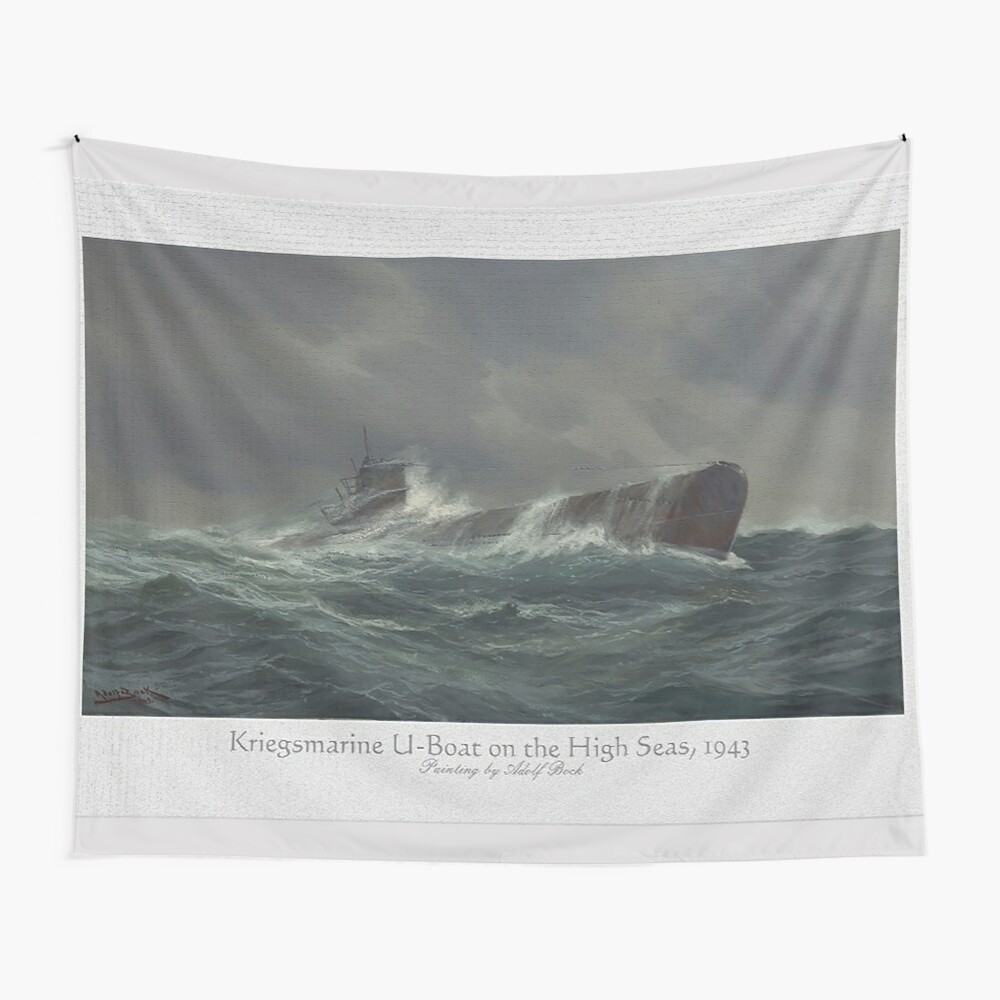 Kriegsmarine U-boat on the high seas, 1943 Wall Tapestry
