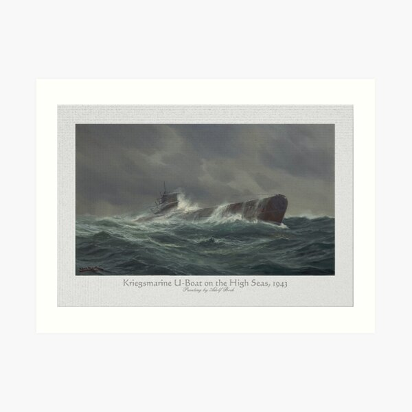Kriegsmarine U-boat on the high seas, 1943 Art Print