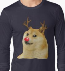 Christmas Doge meme Doggo Kekistan Holiday Season with deer antlers and red nose #DogRight Long Sleeve T-Shirt