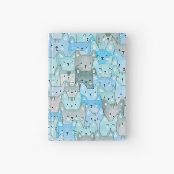 Pile o Aqua Kitties Hardcover Journal