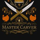 Thanksgiving Turkey Master Carver Autumn Whiskey Label Crossed Knives Design by gallerytees