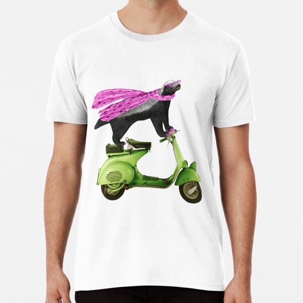 Honey Badger on Vespa in Pink Premium T-Shirt