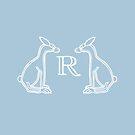 Sitting Rabbits Light Blue #aac7da by Donna Huntriss