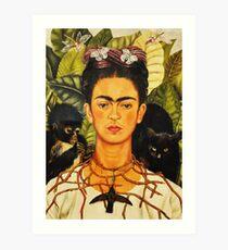 Frida Kahlo Selbstporträt mit Dornkette und Hummingbird Naive Kunstmalerei Kunstdruck