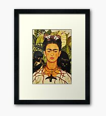 Frida Kahlo Self-Portrait with Thorn Necklace and Hummingbird Naive art Painting Framed Print