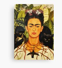 Frida Kahlo Self-Portrait with Thorn Necklace and Hummingbird Naive art Painting Canvas Print