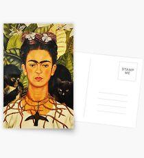 Postales Autorretrato de Frida Kahlo con collar de espinas y pintura de arte ingenuo de colibrí