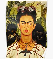 Frida Kahlo Self-Portrait with Thorn Necklace and Hummingbird Naive art Painting Poster