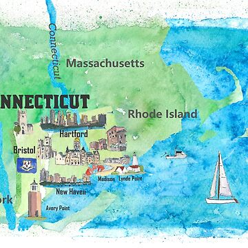 USA Connecticut Travel Poster Map With Highlights by artshop77