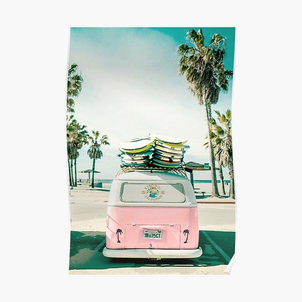 Pink Kombi Van Surf Art Poster