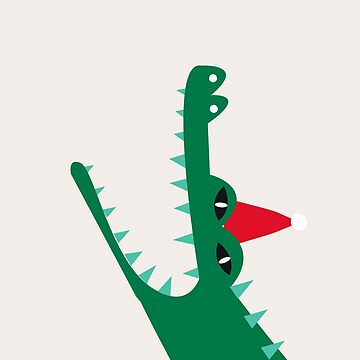 Aquatic cartoon crocodile wearing a Christmas hat  by Bokoro