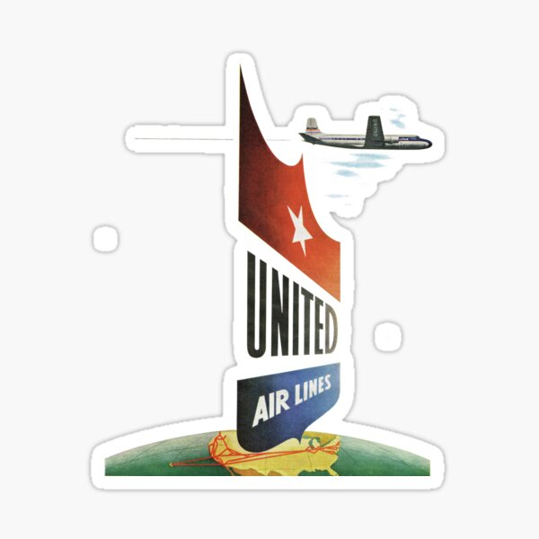 1950s Travel. United Airlines  Sticker