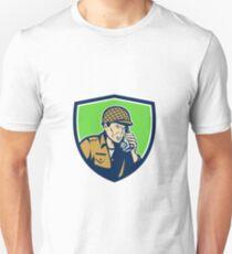 World War Two American Soldier Talk Radio Shield T-Shirt