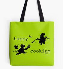 happy cooking team · Tortillas deliciosas de los mejores cocineros Bolsa de tela