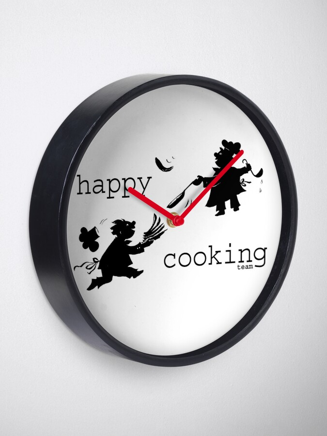Alternate view of happy cooking team  · Delicious pancakes, happy cooks! Clock
