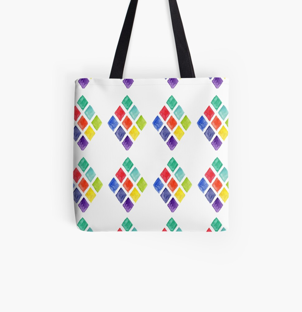 Painted Argyle All Over Print Tote Bag