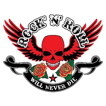 Rock n' Roll Will Never Die - Skull Wings Roses by kikajon
