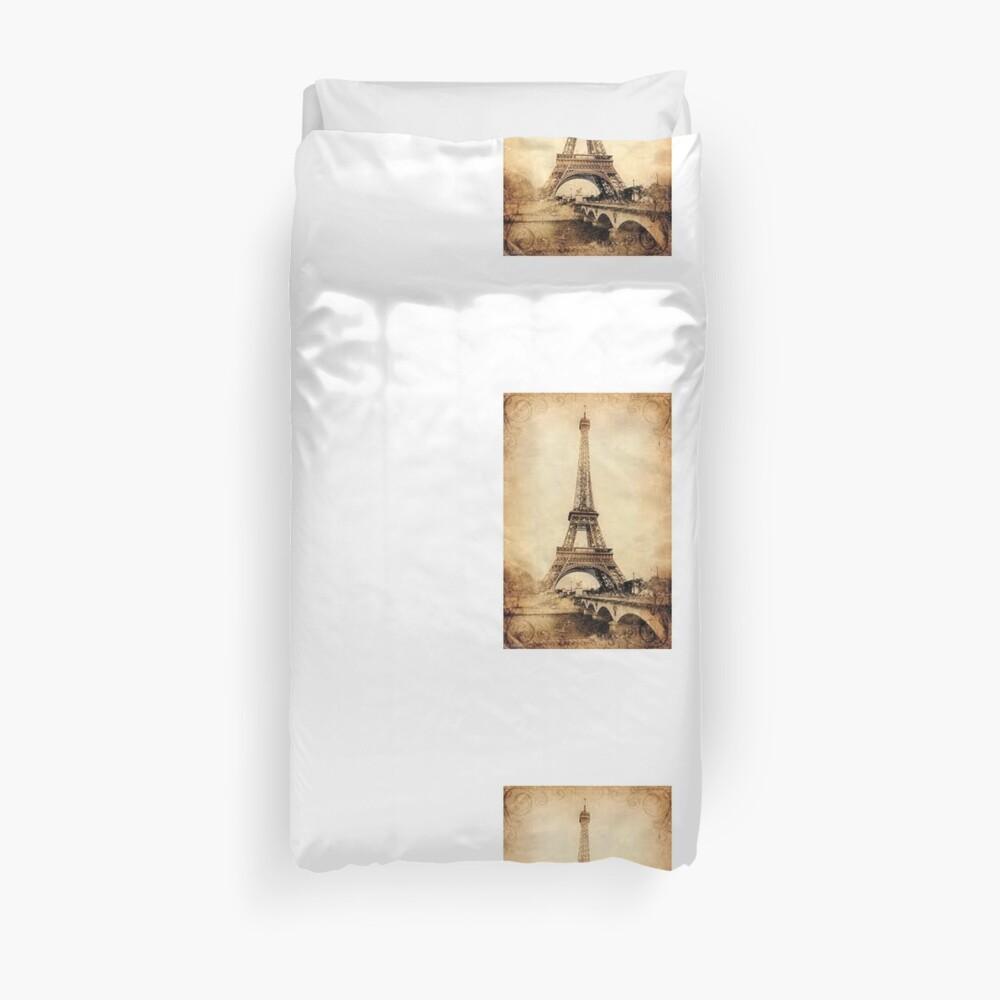 """""""Vintage Love"""" for Eiffel Tower Duvet Cover"""