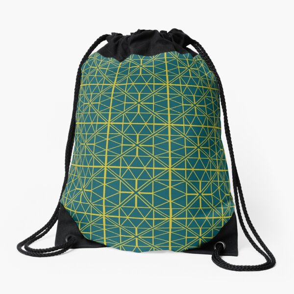 Green Triangle Pattern Drawstring Bag