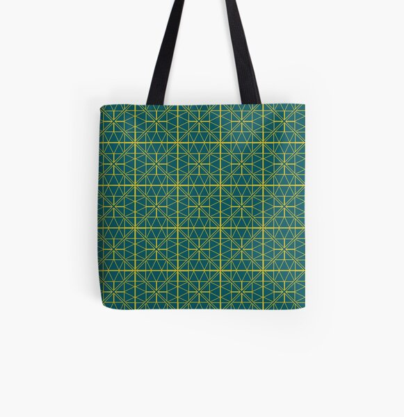 Green Triangle Pattern All Over Print Tote Bag