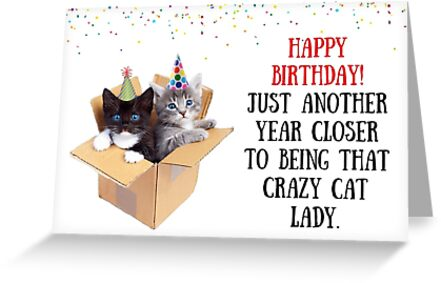 Cats In Box Birthday Card Cat Lady Meme Greeting Cards