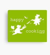 happy cooking team  · Tortitas apetitosas de los mejores chefs (blanco) Lienzo