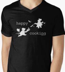 happy cooking team  · Tortitas apetitosas de los mejores chefs (blanco) Camiseta para hombre de cuello en v