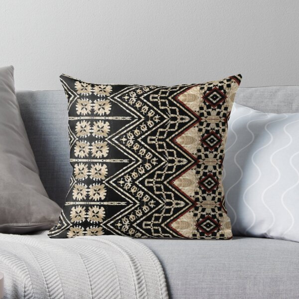 Fijian Tapa Cloth 38 by Hypersphere Throw Pillow