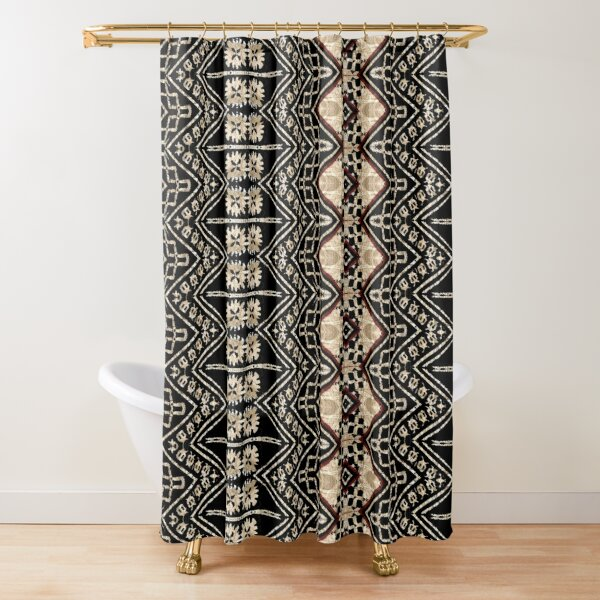 Fijian Tapa Cloth 38 by Hypersphere Shower Curtain