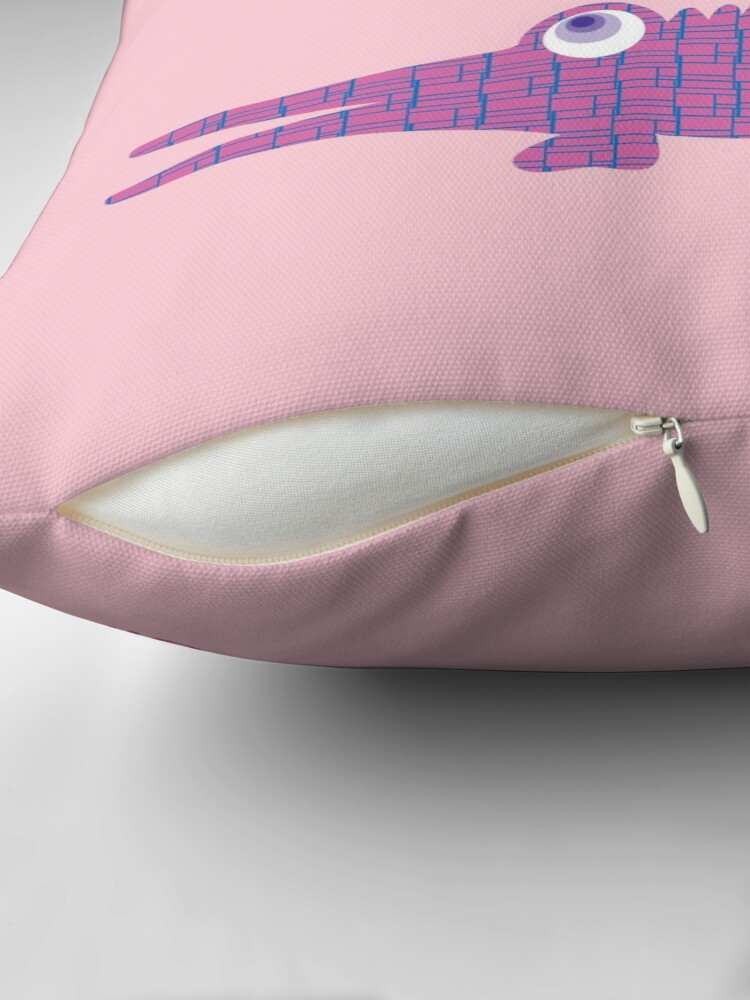 Alternate view of LATER ALLIGATOR - Pink Throw Pillow