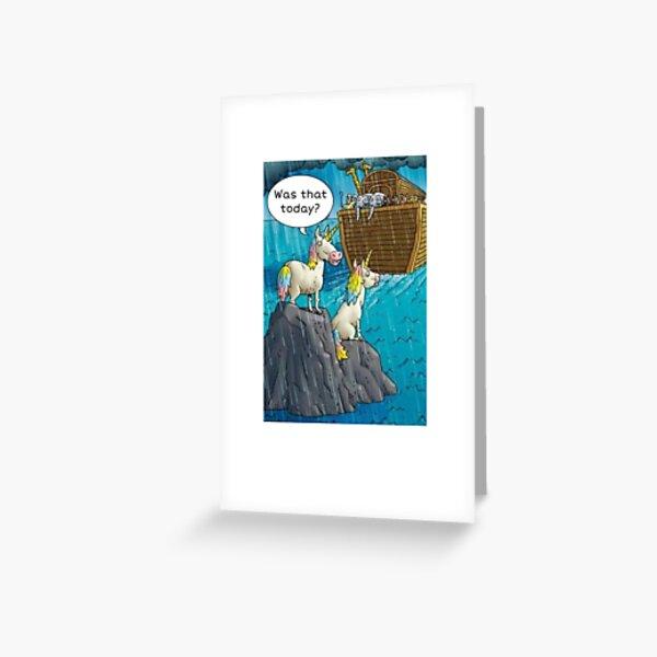 Cute funny Noah's ark unicorn tee shurt Greeting Card