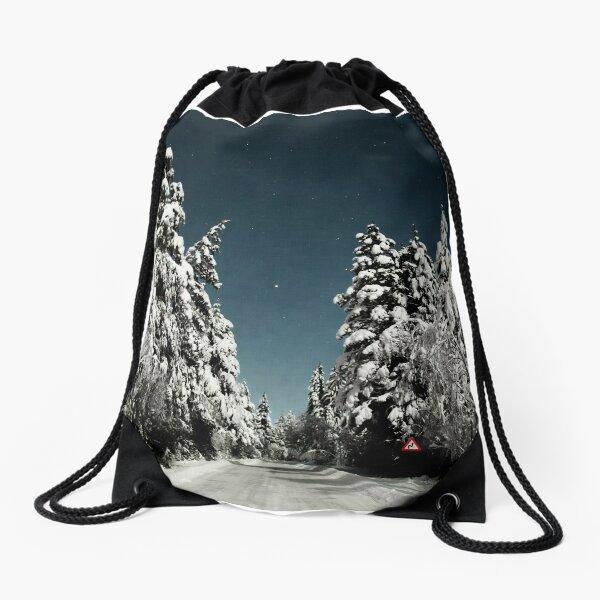 Winter roadtrip Drawstring Bag