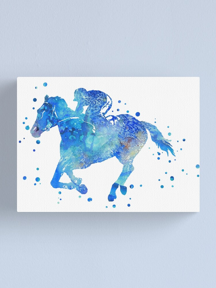 Print on Canvas Watercolour Horse racing canvas wall art 30 x 20 Inch