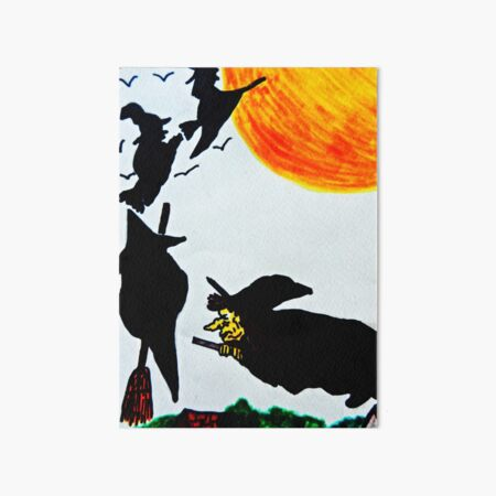 Cackling Witch Riding Broomstick Full Moon Set of 4 Placemats /& Coasters
