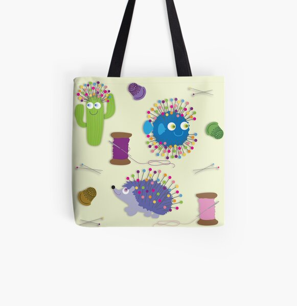 SEW HAPPY All Over Print Tote Bag