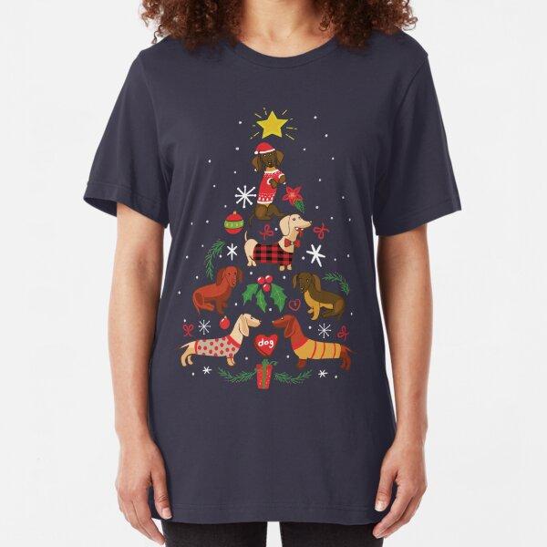 Funny Dachshund Christmas Tree Shirt Ornament Decor Gift Slim Fit T-Shirt