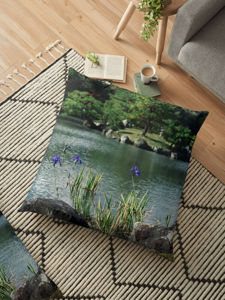 Blue Japanese Irises By The Pond In A Peaceful Scenery Of A