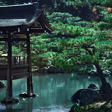 Fishing deck on a pond of a historic Japanese temple Kinkaku-ji art photo print by AwenArtPrints