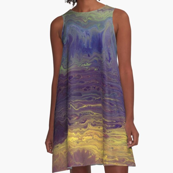 Purple Waves A-Line Dress