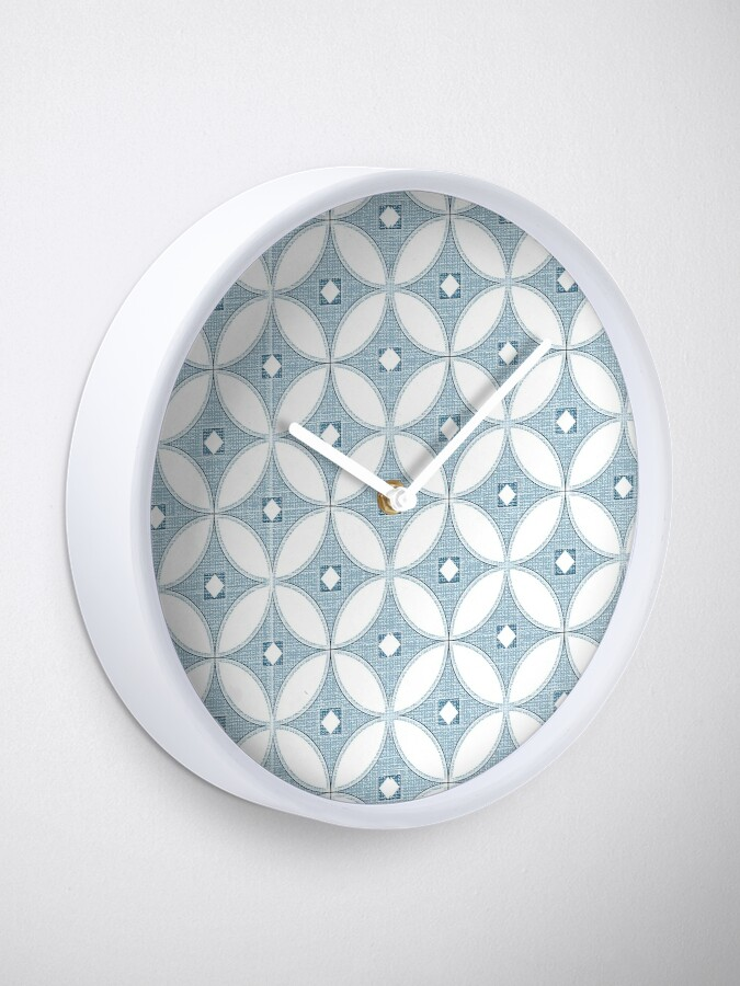 Alternate view of  Modern Chinoiserie pattern, white and grey circle textures,classic blue, 2020 Clock