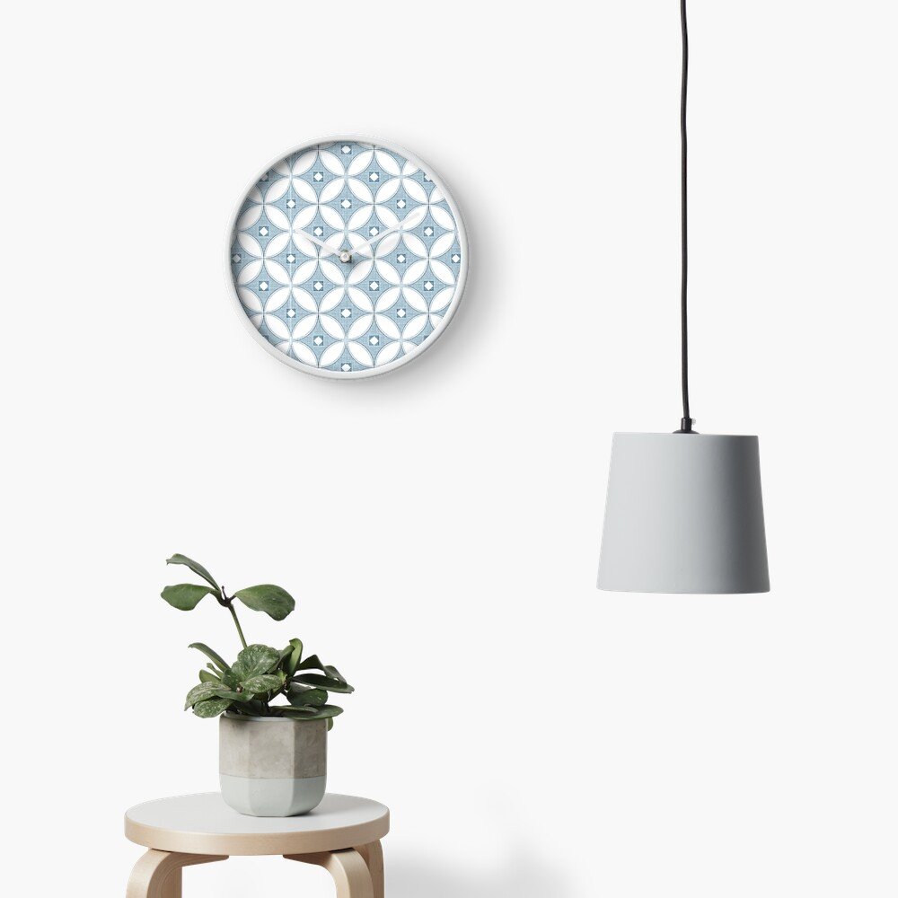 Modern Chinoiserie pattern, white and grey circle textures,classic blue, 2020 Clock