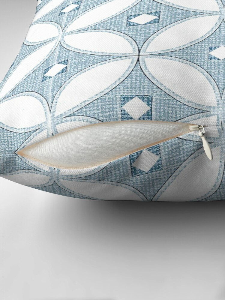 Alternate view of  Modern Chinoiserie pattern, white and grey circle textures,classic blue, 2020 Throw Pillow