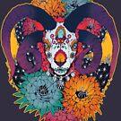 Painted Skull in Flowers by Kellie Lamphere