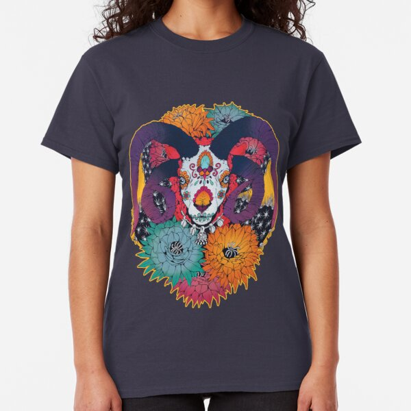 Painted Skull in Flowers Classic T-Shirt