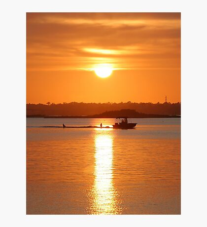 Boating At Sunset Photographic Print